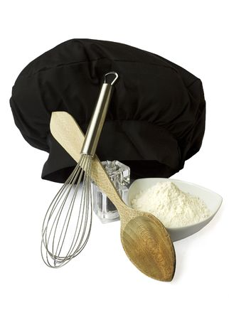 Some kitchen utensils for cooking. Stock Photo