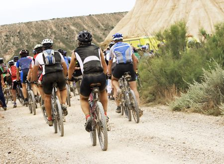Cyclists in the final lane, reaching the finish. Stock Photo