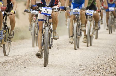 Mountain bikes in a competition. Stock Photo