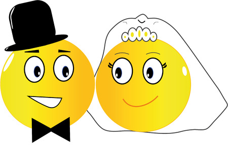 Two emoticons: the bride and the groom just married