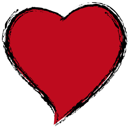 Red heart against a white background