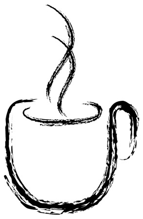 Paint of a coffee cup with hot smoke