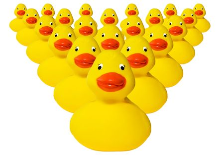 Group of typical plastic yellow rubber ducks. photo