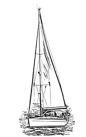 Silhouette from a sailing boat picture isolated against white, Illustration