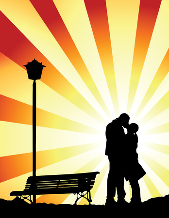 Couple kissing togheter in a romantic place Illustration