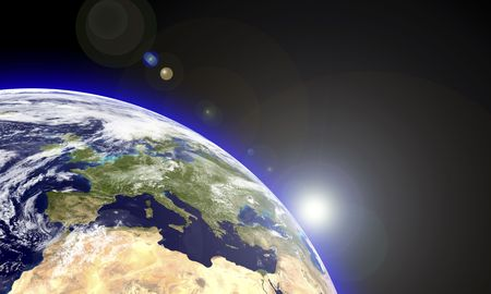 Europe in an earth globe seen from the space