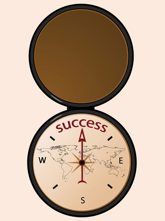 aiming: Compass aiming to the word success.