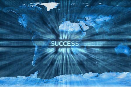 courtoisie: Success mot dans une entreprise de fond en termes m�langer un monde map.This est un photoshop image modifi�e. Certains �l�ments de ce montage sont fournis courtoisie de la NASA, et ont �t� trouv�s � http:visibleearth.nasa.gov