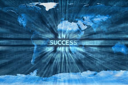 Success word shown in a business words mix background over a world map.This is a photoshop edited image. Some components of this montage are provided courtesy of NASA, and have been found at http:visibleearth.nasa.gov Stock Photo