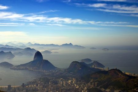 Photo taken a the feet of the Christ the Redeemer statue aiming Sugarloaf mountain