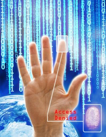 Image concept of security and technology. All the images are computering generated except the hand that is a physical photography. Stock Photo - 3496358