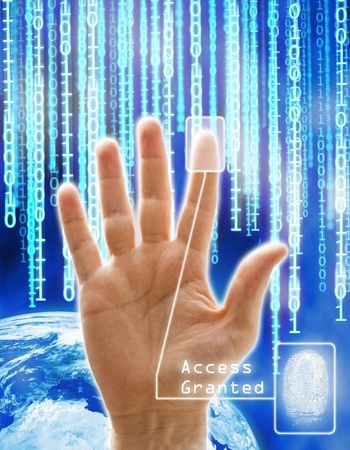 Image concept of security and technology. All the images are computering generated except the hand that is a physical photography. photo