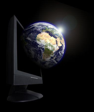 courtoisie: Surveiller la Terre avec une plan�te de plus en plus de it.This est un photoshop image modifi�e. Certains �l�ments de ce montage sont fournis courtoisie de la NASA, et ont �t� trouv�s � http:visibleearth.nasa.gov Banque d'images