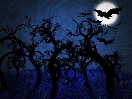 Forest full of twisted trees in a dark night illuminated with a full moon photo