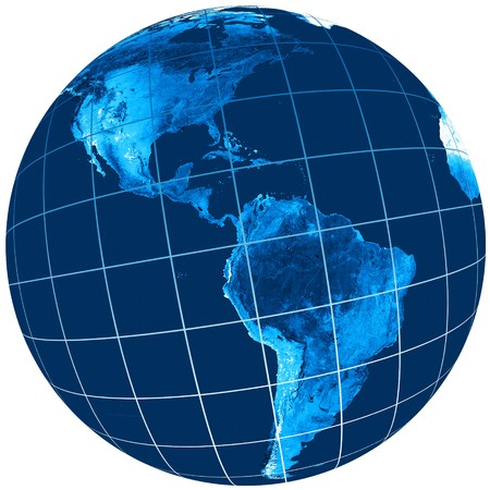 earth logo: Blue world globe with a view of America side Stock Photo