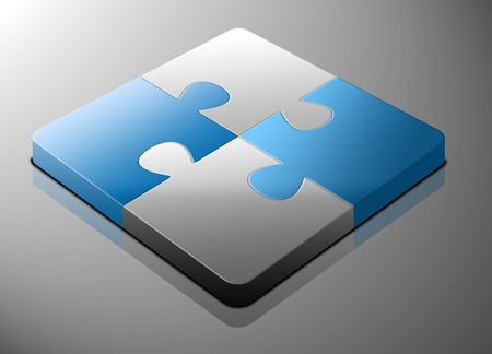 Blue and white puzzle pieces matching in a silver background Stock Photo - 4292966