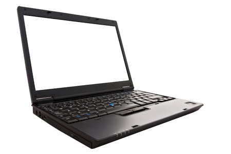 else: Black laptop open with a blank screen ready for text, images or anything else.