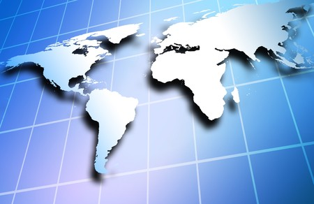 World map over a technological and business background photo