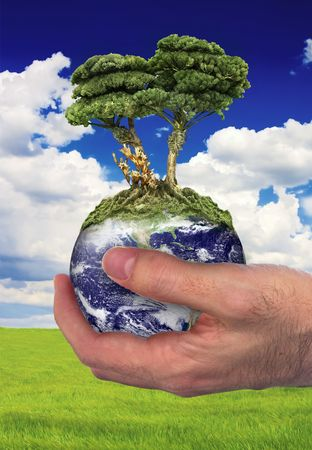 Hand holding a globe with a tree growing in the top. Ecology concept.