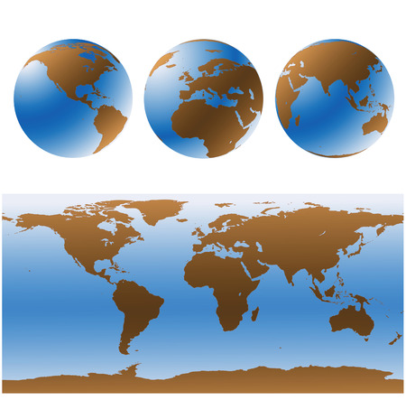 World maps set in blue and brown Vector
