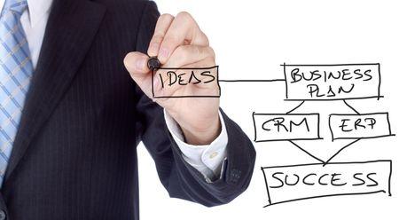 Businessman writting a business plan to get success.