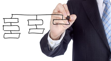 Businessman writing over a increasing bars for a success concept. Stock Photo - 7519848