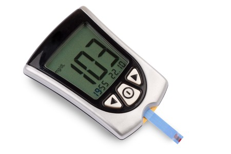 glucometer: Glucometer isolated against a white background showing a good result