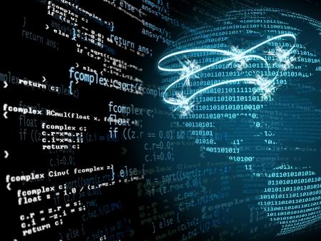 デジタル プログラム コードと青と緑の通信の概念を持つアメリカの地図 写真素材 - 7519863