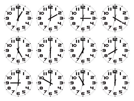 Set of watches with all the o`clock hours isolated against a white background photo