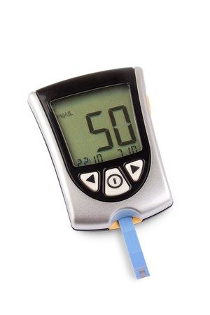 glucometer: Glucometer isolated with a low result against a white background Stock Photo