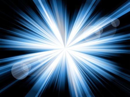 Blue and white lines shining from the center, with some flares, against a black background.