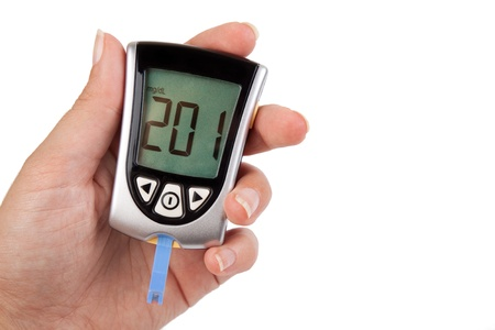 diabetes: Glucometer showing a bad result in the display Stock Photo