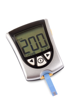 Glucometer isolated with a high result against a white background