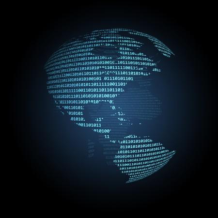 continente americano: �mbito mundial hizo de d�gitos binarios con el continente americano en la parte superior.