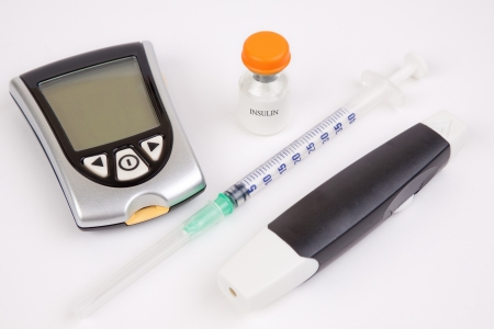 Necessary equipment for a diabetic person on a white background