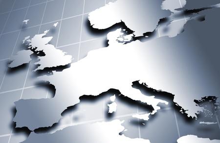 mapa de europa: Mapa europeo con colores met�licos sobre un fondo cuadrado.