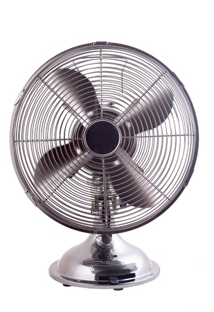 Isolated image of an elegant designed fan working against a white background photo