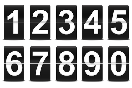 numbers: Set of flip numbers like airport Stock Photo