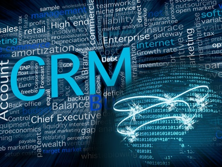 enterprises: CRM related terms in blue and a big world sphere with the American state in front, made with zeros and ones numbers for a business, software and communication concept. Stock Photo