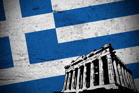 greek flag: Close view of a illustration retro of Greek flag printed with a drawing of the Parthenon in Athens.  Stock Photo