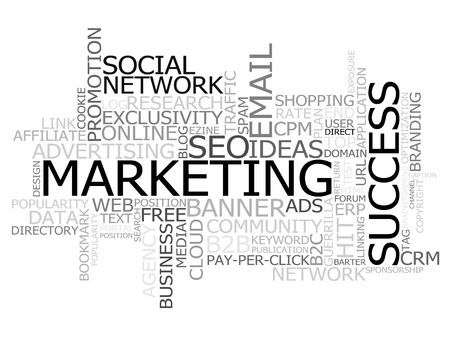 Cloud made of marketing terms, with special emphasis in the marketing, success and social network ones.