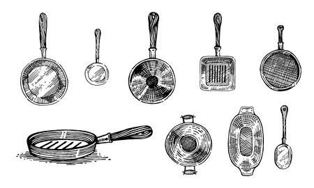 Pfannen, Kochtöpfe, Geschirr. Gesunder Lebensstil, leckeres Essen Handgezeichnete Bilder, Schwarz-Weiß-Grafiken.