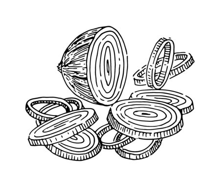 Onion, sliced, rings Çizim