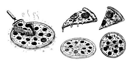 Pizza, set of vector images. Vector graphics for labels, menus, packaging design, advertising, interior designs and food service signage  イラスト・ベクター素材