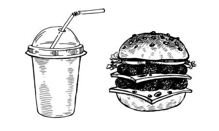 Burgers and cola, set of vector images. Vector graphics for labels, menus, packaging design, advertising, interior designs and food service signage