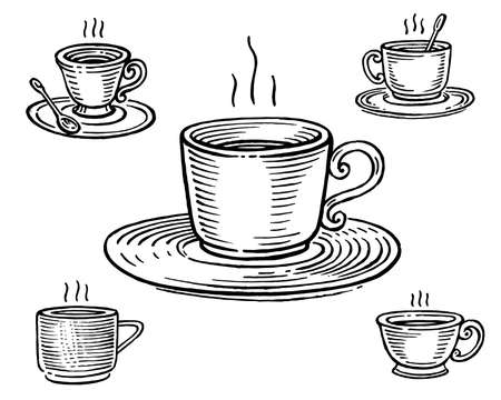Cup of tea or coffee, vector illustration. Vintage graphics and handwork. Drawing with an ink pen and pencil. The A cup of tea, a cup of coffee. A cup with a saucer and a spoon. A hot drink.
