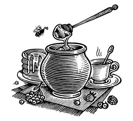 Honey still life, vector illustration. Vintage graphics and handwork. The а pot of honey, a bee, a cup of tea, pancakes and berries A collection of farm products.
