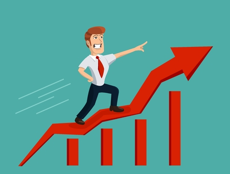 uprising: Successful businessman rides uprising arrow on bar graph Illustration