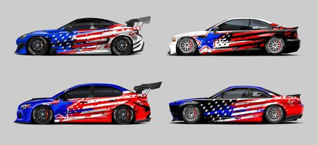Car wrap decal designs set