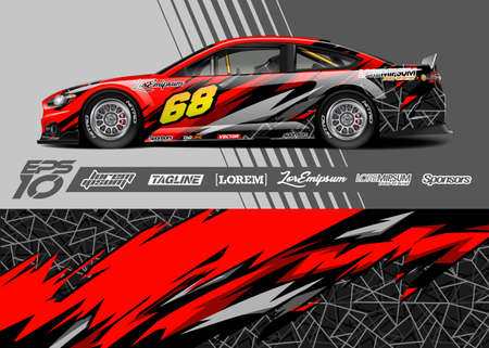 Car wrap decal graphic design. Abstract stripe racing background designs. Full vector Eps 10